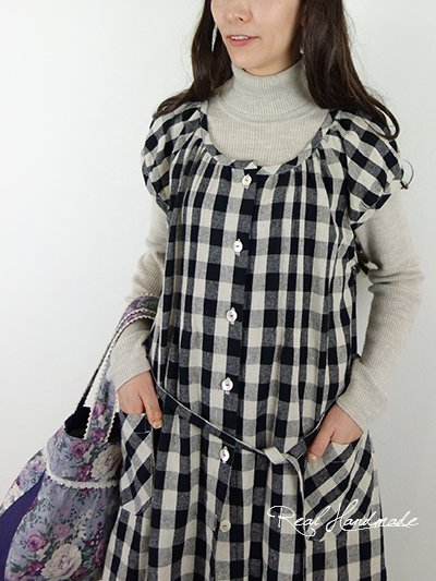 コットンリネンブロックチェックピンタック羽織りワンピース