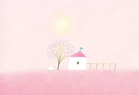 ポストカード No.116【ピンク屋根のぼくの家】