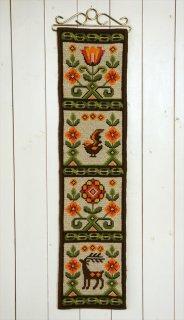 TVIST ツヴィスト刺繍 鳥と花と鹿縦長