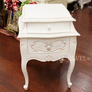 【フランス家具-Bois&Charme】引出付きスモールテーブル アンティークホワイト(W48×H65cm)
