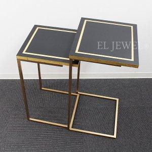 【送料無料】スペイン Carmen Pardo-Valcarce社 ネストテーブル ブラック×ゴールド(W37×H67cm)