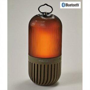 【光と音】LEDゆらぎカプセルスピーカー<カーキ>Bluetooth・ランタンスピーカー(防塵・防水)