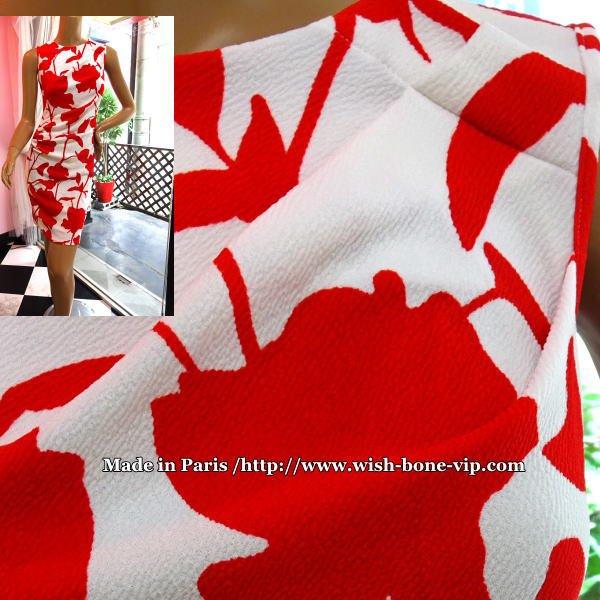 【フランスインポート/薄地ストレッチジャージーワンピース】胸元タック&ワッフル/ホワイト&レッドフラワーの画像
