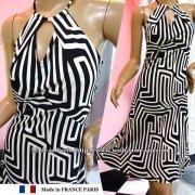 【フランスインポート/薄地ストレッチジャージーワンピース】胸元スリット&Aライン/ブラック&ホワイト
