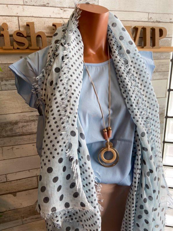 【イタリア/Made in ITALY】サラッと肌触り大判&ロング上質モダール ストール・スカーフ/淡ブルーMIXドットの画像
