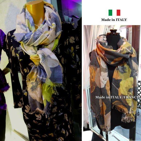 【イタリア製/Made in ITALY】大判&ロング ヴィンテージ風ストール・スカーフ/イエローオレンジベージュ系BIGフラ…
