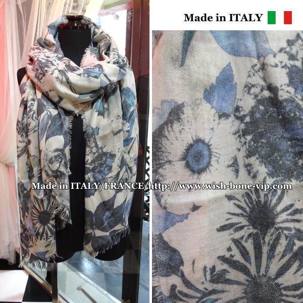 【イタリア製/Made in ITALY】大判&ロング ヴィンテージ風ストール・スカーフ/MIXフラワーブルー&グレ…