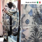 【イタリア製/Made in ITALY】大判&ロング ヴィンテージ風ストール・スカーフ/MIXフラワーブルー&グレー系