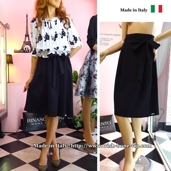 SALE/セール  イタリア/RINASCIMENTO   リナシメント   ボックスプリーツスカート ベルトリボン/ブラック(M)の画像
