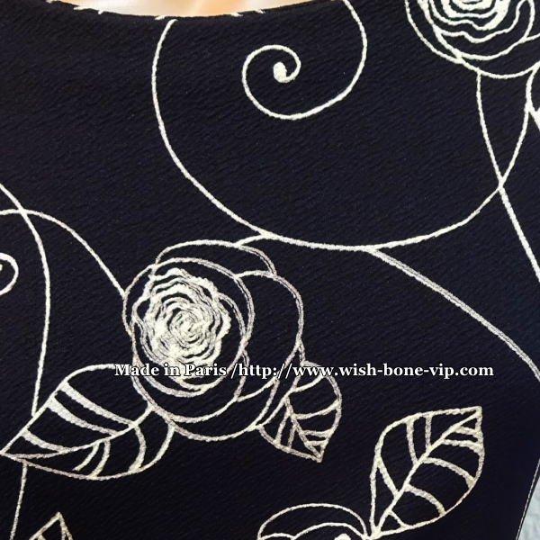 【フランスインポート】中厚地ジャージ切り替え 七分袖タイトワンピース/ブラック&ホワイトの画像