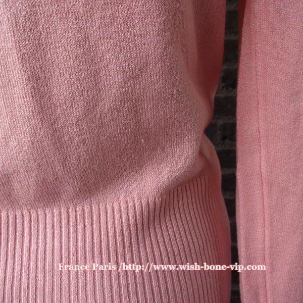 【フランスインポート】後染めサマーコットンニット&Vネック前ボタン カーディガン/ピンク(FREE)の画像