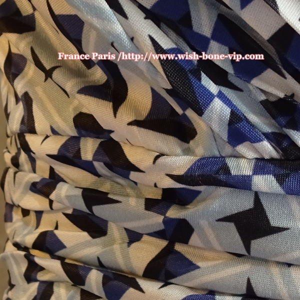 【フランス/EGERIE】七分袖ジャージプリントワンピース/淡ブルー&ネイビーの画像