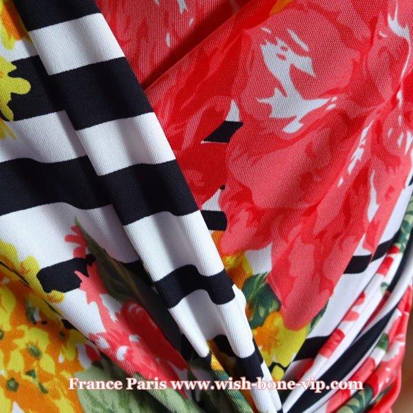 【フランスインポート】美デコルテ&カシュクール プリントワンピース/ボーダー&レッドフラワーの画像