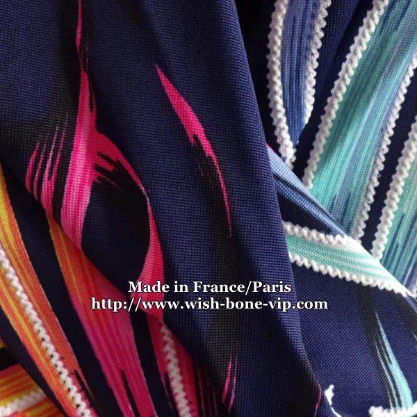 【フランスインポート/FIFILLES PARIS フィフィーユ・パリ】胸元プリーツ風ドレープ タイトワンピース/トロピカルの画像