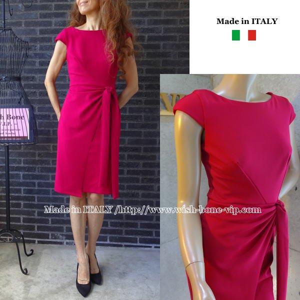 【イタリア/RINASCIMENTO/リナシメント】ウエスト絞りタイトドレス ワンピース/レッドの画像