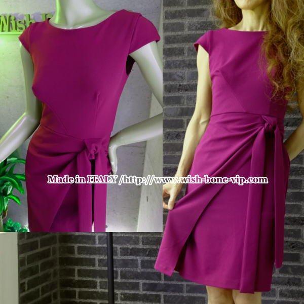 イタリアインポート/RINASCIMENTO/リナシメント ウエスト絞りタイトドレス ワンピース/Pinkボルドーの画像