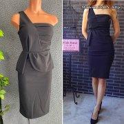 【イタリア/made in Italy】ベアトップ風ワンショルダー ぺプラムタイト ドレス・ワンピース/ブラック(S)