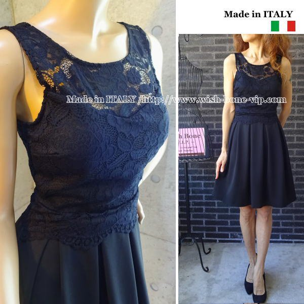 【SALE*50%OFF/返品交換不可】【イタリア/made in Italy】レース切り替えボックスプリーツ Aラインドレス・ワンピース/ブラック(S)<img class='new_mark_img2' src='https://img.shop-pro.jp/img/new/icons16.gif' style='border:none;display:inline;margin:0px;padding:0px;width:auto;' />の画像