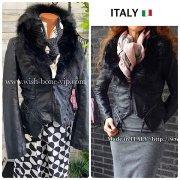 【イタリア製ブランド】取り外しファー&フェイクレザー2wayアウターライダースジャケット/ブラック(S)(M)