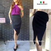 【イタリア製made in ITALY】 前スリット&アシンメトリータイトスカート/ブラック(S)