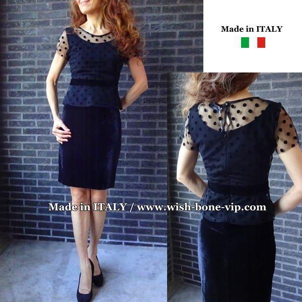 イタリア製インポート RINASCIMENTO/リナシメント ベロア&チュール タイトドレス・ワンピース/ブラック(XS)の画像