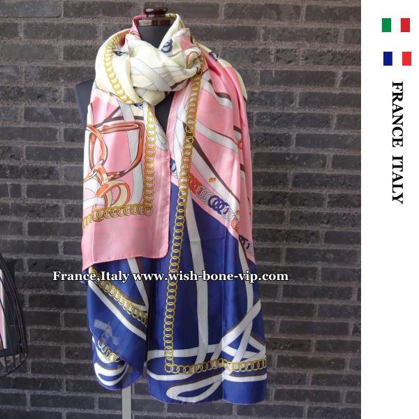 フランスインポート | 190x90cmロング | Silkシルク&ビスコース | 大判ストール・スカーフ/ピンク&ネイビーの画像