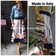 【イタリア製MadeinItaly】切り替えストライプAラインフレアスカート/レッド・ネイビー&トープ(M)