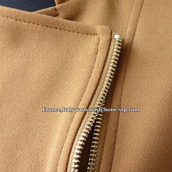 【イタリア製ブランドMadeinITALY】フロントジッパー&デザインえり タイトジャージ ジャケット/ブラウンの画像