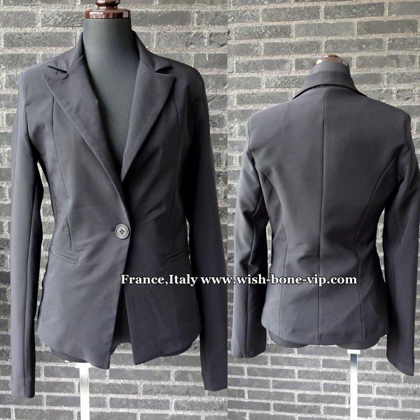 【イタリア製ブランドMadeinITALY】美シルエット 定番1つボタンジャケット/ブラックの画像