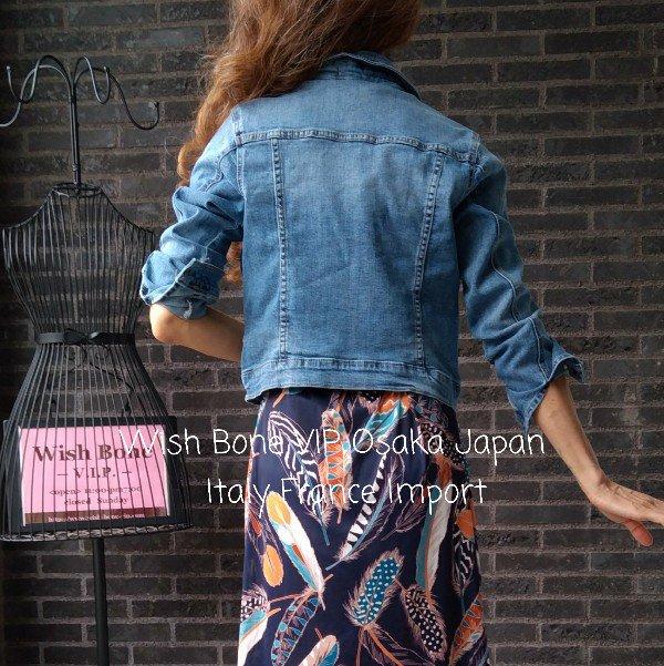 【イタリア製ブランドMadeinITALY】伸縮ストレッチ デニムジャケット/ブルーデニムの画像
