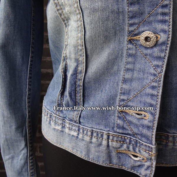 【イタリア製ブランドMadeinITALY】ダメージデニムジャケット/ブルーデニムの画像