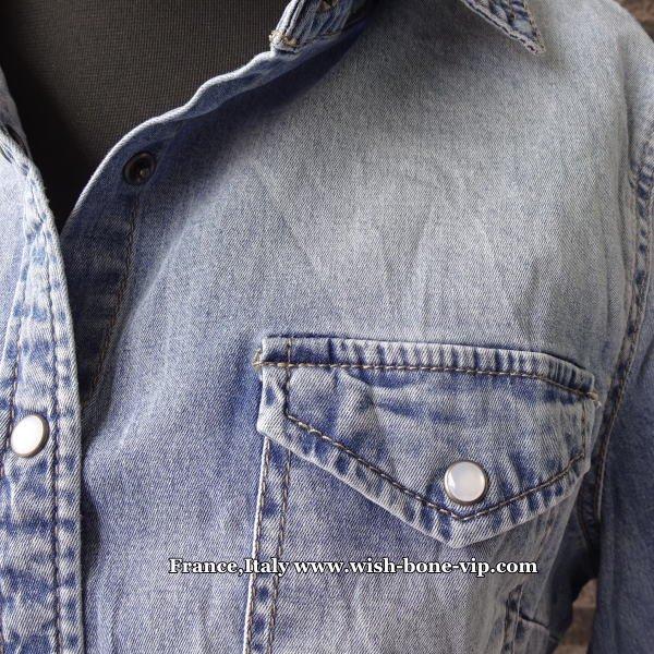 【イタリア製ブランドMadeinITALY】伸縮ストレッチ デニムシャツ/ブルーデニムの画像