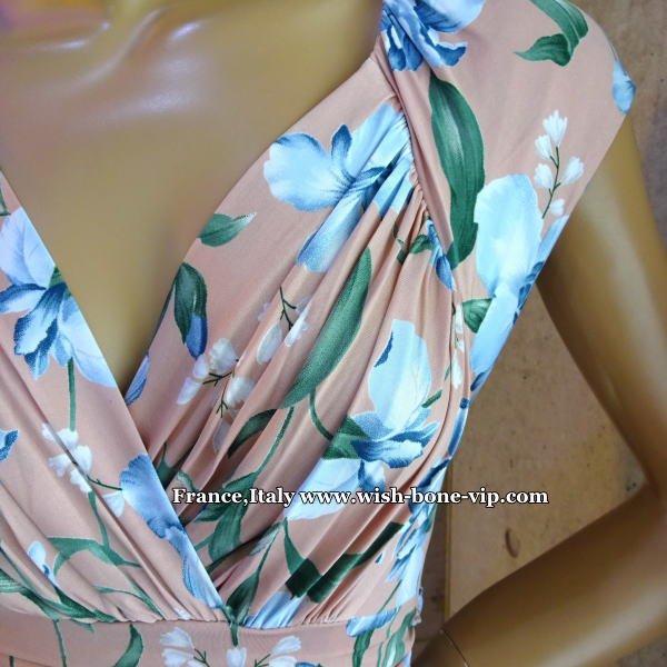 フランスインポート | EGERIE エジェリー 美デコルテ&Aライン ストレッチジャージ ワンピース/ピンク系フラワープリントの画像