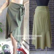 【イタリア製MadeinItaly】フロントフリル&アシンメトリー巻きラップスカート/モスグリーン