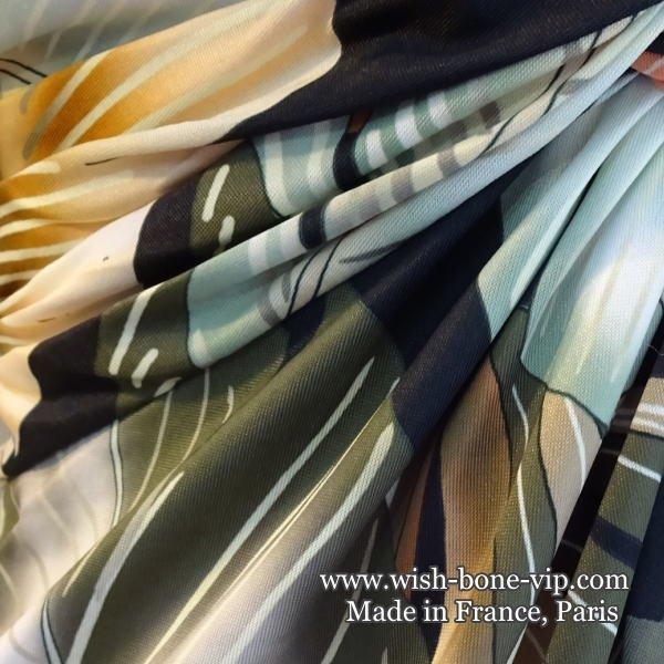【フランスインポート/FIFILLES PARIS フィフィーユ・パリ】後ろ調節&Aライン ストレッチ製ワンピース/グリーンボタニカル(T1)の画像