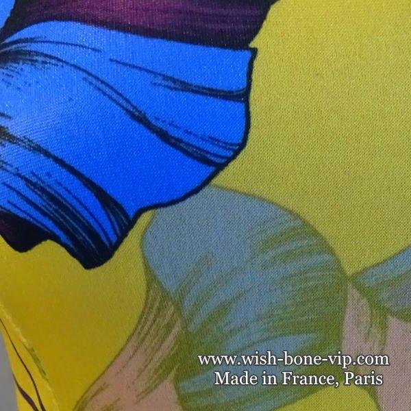 フランスインポート | FIFILLES フィフィーユ・パリ エリ風VネックAライン・ストレッチジャージ ワンピース/イエロー&フラワープリント(T2)の画像