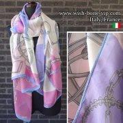 【イタリアITALY】180x90cm Silk&ビスコース 大判ロングストール・スカーフ/ピンクパープル