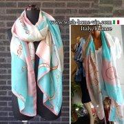【イタリアITALY】180x90cm Silk&ビスコース 大判ロングストール・スカーフ/ピンクグリーン