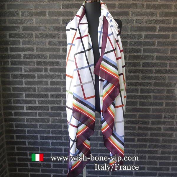 【イタリアITALY】180x85cm ポリエステル 大判ロングストール・スカーフ/レトロ色チェックの画像