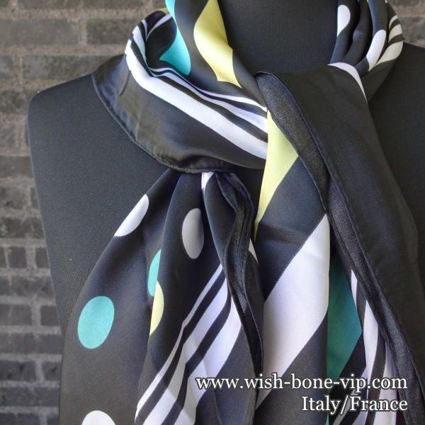 イタリアインポートスカーフ   70cmスクエア   ポリエステル ツヤスカーフ   ドット/ブラック・グリーン・イエローの画像