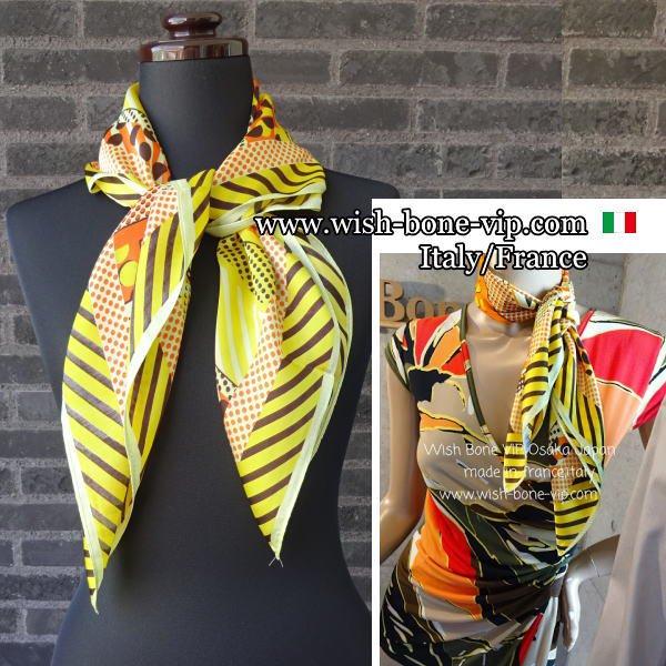 【イタリアITALY】70cmスクエア ポリエステル ツヤスカーフ/オレンジ・ブラウン・イエローの画像