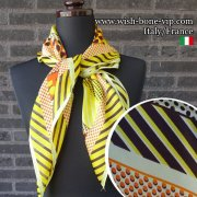 【イタリアITALY】70cmスクエア ポリエステル ツヤスカーフ/オレンジ・ブラウン・イエロー