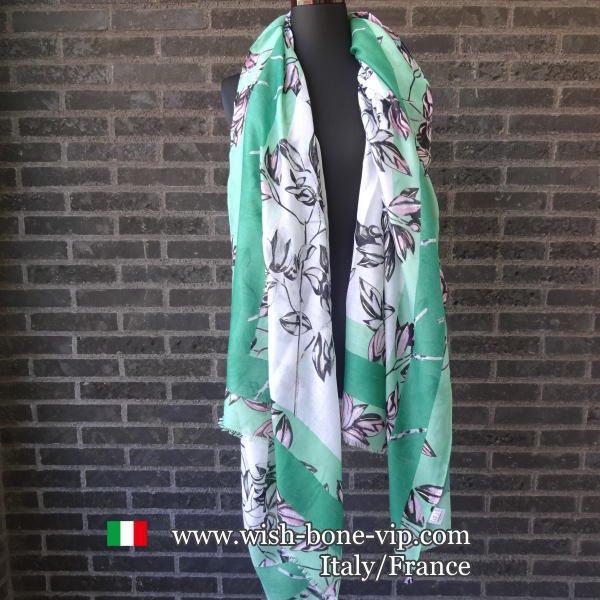 【イタリアITALY】190x90cm ポリエステル 大判ロングストール・スカーフ/グリーンフラワーの画像