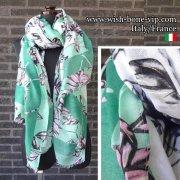 【イタリアITALY】190x90cm ポリエステル 大判ロングストール・スカーフ/グリーンフラワー