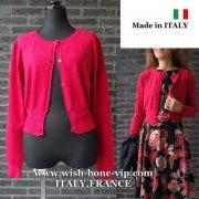 【イタリア製/ITALY】ヴィスコース混フロントボタン&すそリブ織りカーディガン/レッド