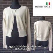 【イタリア製/ITALY】ヴィスコース混フロントボタン&すそリブ織りカーディガン/クリーム