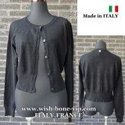 【イタリア製/ITALY】ヴィスコース混フロントボタン&すそリブ織りカーディガン/ブラック