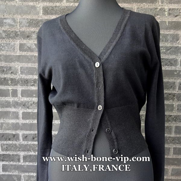 【イタリア製/ITALY】ヴィスコース混Vネック&すそラメ織りカーディガン/ブラック(S)(M)の画像