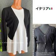 【イタリア製/ITALY】ヴィスコース混Vネック&すそラメ織りカーディガン/ブラック(S)(M)