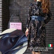 【イタリア製MadeinITALY】本革レザー・ロング ラップ巻きデザインベルト/ネイビー